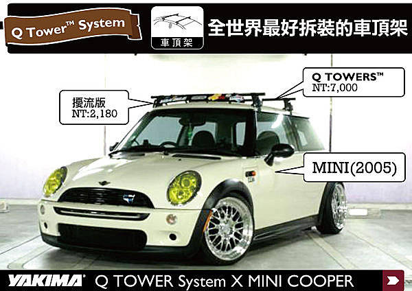 MINI COOPER R53.R56 專用 YAKIMA Q TOWERS 車頂架