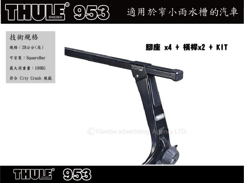 Thule 953 有排水溝車頂架腳座(28公分)/雨槽型車頂架腳座