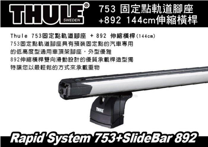 THULE 753 固定點軌道腳座+892 144公分伸縮橫桿+專用KIT 車頂架 橫桿 行李架